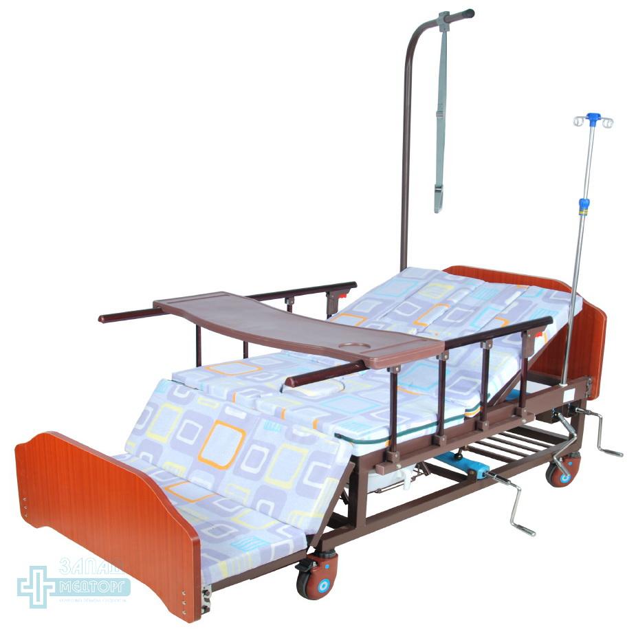 кровать медицинская механическая МК-1121 матрац кресло столик