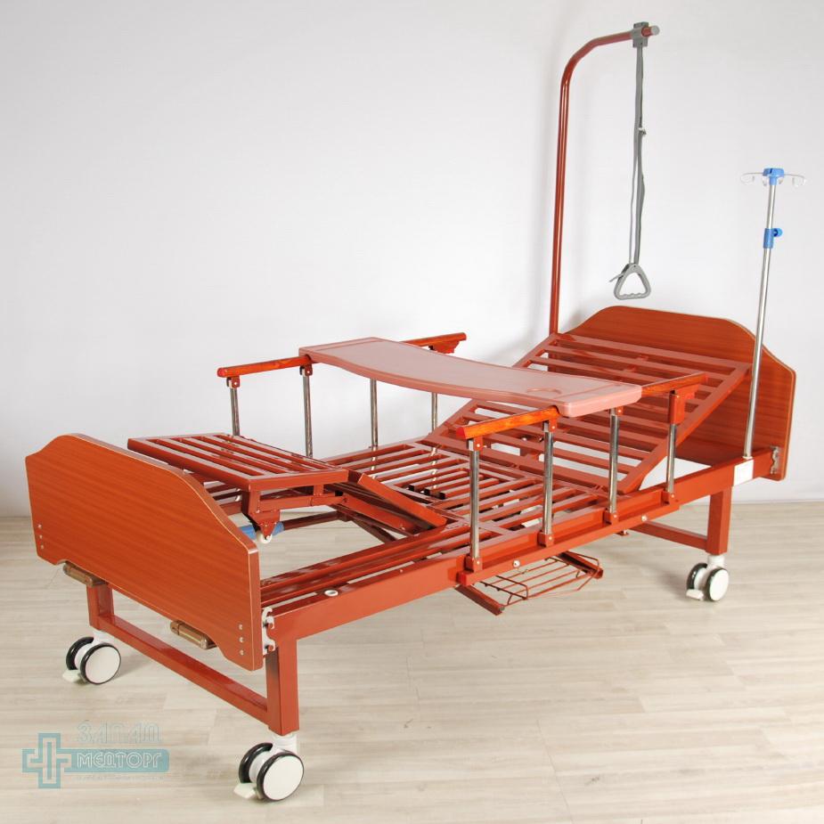 кровать медицинская механическая МК-1123 столик подъем ног